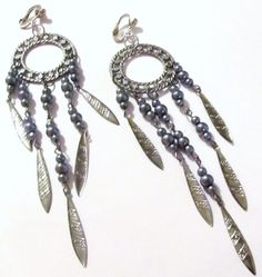 """$18.99 - 5 1/2"""" Silver Plated Gray Beaded Feather Dream Catcher Dangle Clips-on Handcrafted Earrings"""