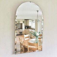 Find many great new & used options and get the best deals for Large Arched Vintage Mid-Century Bevelled Edge Frameless Wall Mirror 65cmx39cm at the best online prices at eBay! Free shipping for many products! Beveled Edge Mirror, Round Wall Mirror, Makeup Dresser, Freestanding Mirrors, Hall Mirrors, Back To Home, Art Deco, Mid Century, Things To Sell