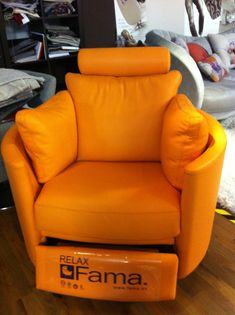 Our first electric recliner in orange leather was a real head turner. It went to live in a house that was almost entirely decorated in white - a photo in situ would have been good!