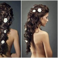 love this hair but i would rather have small diamonds or pearls instead of such big flowers. also i would like it to be loose at the bottom