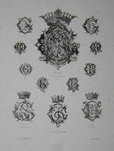 """Gaston monogrammes french 19th century engraving 12 x 17"""" $110"""