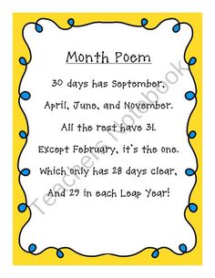 Month Poem from Second Grade Superstars on TeachersNotebook.com (1 page)