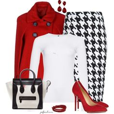 """This is why houndstooth is classic and not just for the holidays.  """"Houndstooth for The Holidays"""" by jafashions on Polyvore"""