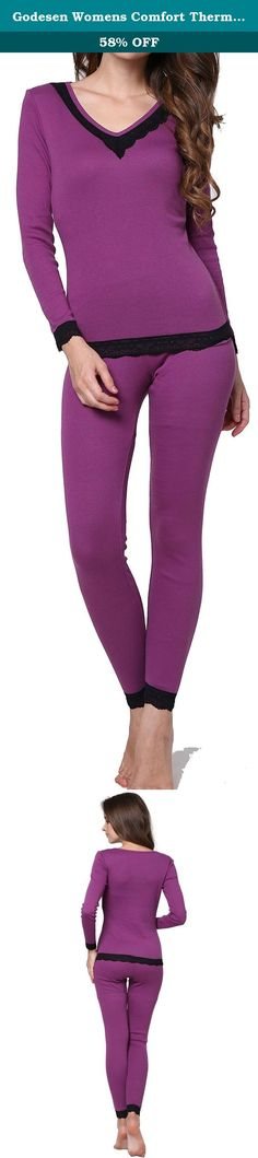 """Godesen Womens Comfort Thermal Underwear 100% Cotton Loungewear Set (S, Purple). Product Description: please choose the most appropriate size according to your actual figure. Womens shirts Size XS: Sleeve Length 21.26"""", Bust 28.35"""", Waist 25.20"""" Size S: Sleeve Length 21.85"""", Bust 29.92"""", Waist 26.77"""" Size M: Sleeve Length 22.44"""", Bust 31.50"""", Waist 28.35"""" Size L: Sleeve Length 23.03"""", Bust 33.07"""", Waist 29.92"""" Womens pants Size XS: Waist 22.83"""", Length 36.61"""" Size S: Waiste 24.41"""", Length..."""
