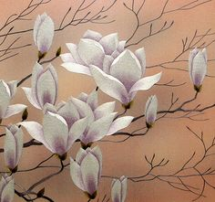 Magnolia blooms embroidery