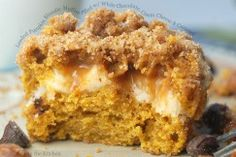 Loaded Pumpkin Blondie Muffins Filled with White Chocolate, Cream Cheese and Caramel