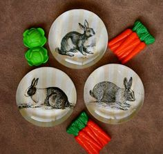 Get hopping for spring!  Bunny rabbit glass magnet set, by CrowBiz on Etsy. $10