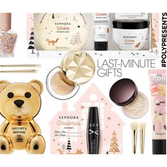 #PolyPresents: Last-Minute Gifts by ezgi-g on Polyvore featuring polyvore, beauty, Benefit, Bare Escentuals, Laura Mercier, Sephora Collection, contestentry and polyPresents
