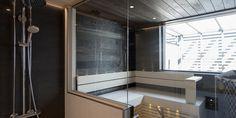 Vaalea kylpyhuone, sauna ja kodinhoitohuone │Laattapiste #kylpyhuoneremontti #laattapiste #vaalea #moderni #sauna