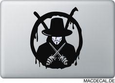 V wie Vendetta auf deinem Macbook als Sticker. Jetzt zuschlagen.  http://www.macdecal.de/hollywood-macbook-sticker/macbook-sticker-v-vendetta.html