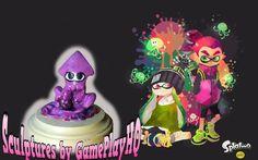 Nintendo Splatoon Figurine Collectable Purple Squid Hand Made Sculpture Model