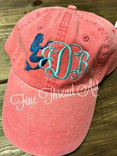 0dd39c31c82 LADIES Mermaid Monogram Baseball Cap Hat LEATHER strap Mom Bridesmaid Bride  Bachelorette Pigment Dyed Nautical Beach
