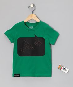 I decided the boy needs this for his 11th birthday: Kelly Green Speak Chalkboard Tee.