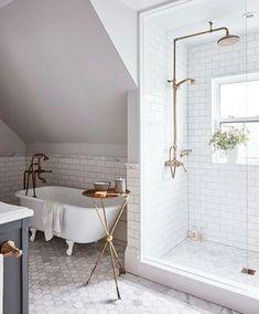 10 Stunning shower ideas of your next bathroom renovation // modern bathroom design Next Bathroom, Upstairs Bathrooms, Bathroom Renos, Bathroom Interior, Attic Bathroom, Gold Bathroom, Bathroom Renovations, Bathroom Vanities, White Subway Tile Bathroom