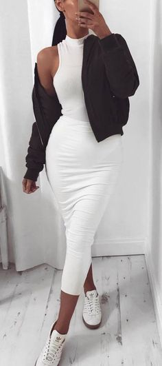 beautiful outfit / black bomber + top + pencil skirt + sneakers