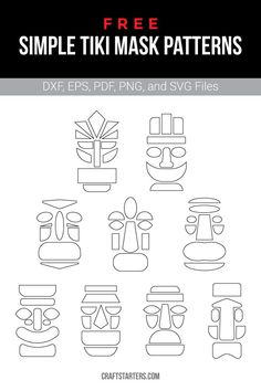 Free simple tiki mask outline patterns in a variety of formats including images, vector files, and printable versions. Luau Theme Party, Hawaiian Party Decorations, Aloha Party, Tiki Party, Party Themes, Hawaiian Theme, Hawaiian Luau, Tiki Bar Decor, Tiki Bar Signs