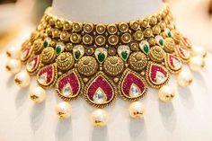 Latest Heavy Bridal Necklace Designs Part 03 Jewelry Design Earrings, Gold Jewellery Design, Necklace Designs, Gold Jewelry, Choker Jewelry, Gold Necklaces, Glass Jewelry, Pendant Jewelry, Diamond Jewelry