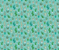 Cactus cacti garden botanical green pattern  fabric by littlesmilemakers on Spoonflower - custom fabric