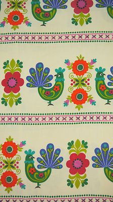 Vintage 70s 1970s Dekoplus Rooster Chicken Flower Fabric Pair Curtains