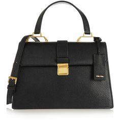 Miu Miu Madras textured-leather shoulder bag (€1.805) ❤ liked on Polyvore featuring bags, handbags, shoulder bags, black, top handle handbags, black shoulder bag, clasp purse, black handbags and miu miu purse