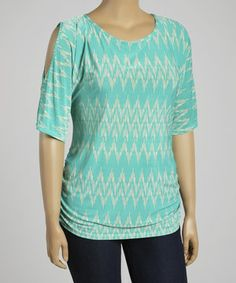 This Teal & Cream Tribal Cutout Top - Plus by ARIA FASHION USA is perfect! #zulilyfinds