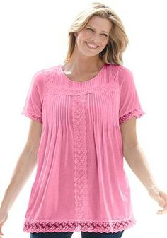 Top, tunic length in soft jersey fabric with lace trim | Plus Size Tops & Tees | Woman Within Size 1      x Light Pink or Light Blue