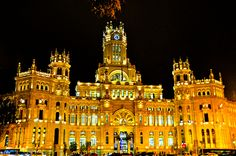 Madrid's City Hall - Palace of Communications at Night in Madrid Spain