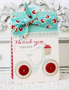I think this stamp set is going to be my new all time FAVORITE! Look at how versatile it is with all of Melissa's awesome cards/ensembles. Being that aqua & red together is my fav color combination, it just jumped off the page at me:-) This sweet card is perfect in every way. I love using buttons for tires too!  Papertrey Ink May '13 release - Pedal Pusher  Melissa Phillips - Lilybean Paperie