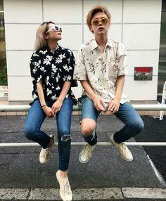 fashion goals. Couple Ulzzang, Ulzzang Girl, Monochrome Fashion, Korean Couple, Fashion Couple, Ulzzang Fashion, Sweet Couple, Cute Couples, Cool Style