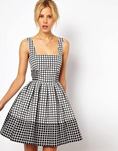This @asos.com jacquard check skater dress is a great contrasting look $93, get it here: http://rstyle.me/~lgXV