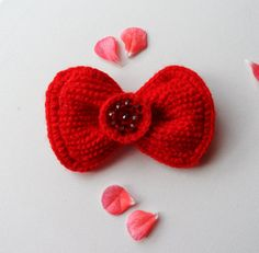 Crochet Red Bow Brooch Pin Tie Hair Accessory by CraftsbySigita on Etsy