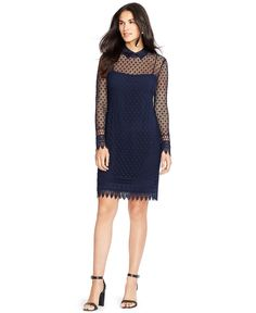 Lauren Ralph Lauren Women's Lace Overlay Collared Long Sleeve Shirtdress (2, Navy). Shell: 100% Polyester. Combo: 97% Cotton 3% Elastane. Lining: 95% Polyester 5% Elastane. Dry Clean. Imported.