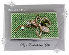 Swarovski Business Card Holder, Rhinestone Metal Credit Card Holder, Business Card Case, Genuine Swarovski Flower Accent~FREE SHIPPING - pinned by pin4etsy.com