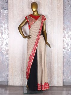 Cream Designer Lycra Ready To Wear Saree Half Saree Designs, Saree Blouse Designs, Beautiful Saree, Beautiful Outfits, Heavy Dresses, Modest Wear, Elegant Saree, Saree Dress, Party Wear Sarees