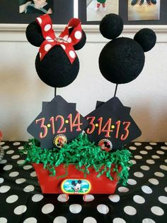 Minnie & Mickey Mouse birthday centerpiece. Made these for a joint birthday party for my son and niece.