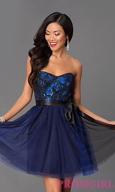 Short Strapless Blue Homecoming Dress 6980506 by Masquerade at PromGirl.com
