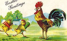Antique-Easter-Fantasy-Postcard-Humanized-Chicks-Run-To-Papa-Rooster-EMB-DB