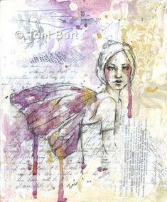 Art Journal Pages, Art Journals, Watercolor Girl, Watercolor Drawing, Art Journal Inspiration, Journal Ideas, Portrait Inspiration, Drawn Art, Encaustic Art