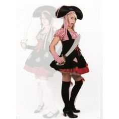 Fantasy Pirate Girl - to hire Pirate Fancy Dress, Female Pirate Costume, Pirate Woman, Pirates, Skater Skirt, Red And White, Hipster, Fantasy, Costumes