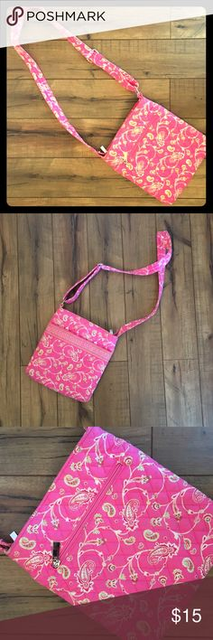 Pink floral crossbody hipster bag Crossbody bags are the best for hands-free convenience. Going to a concert? Theme park? The library? Keep your hands at the ready for whatever catches your eye.  Soft washable fabric. Bags Crossbody Bags