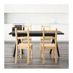 IKEA - RYGGESTAD/GREBBESTAD / IVAR, Table and 4 chairs, There's a natural and living feeling of wood, as knots and other marks remain on the surface.The table top has pre-drilled holes for the underframe which makes assembly easy.