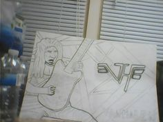 My drawing of Eddie Van Halen a guitar player that imspires me