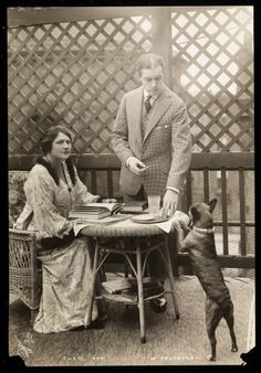 Julie Opp and William Faversham with their Boston Terrier, 1914 by Byron Company