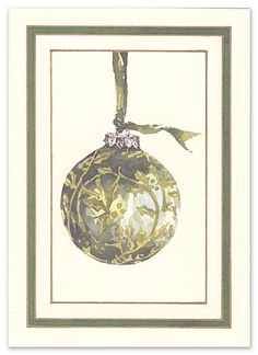 """Tapestry Ornament Cards by Odd Balls (Set of 15). This ecru greeting card features a green, tapestry patterned tree ornament on the front of the card. """"Wishing you the best of everything this Holiday Season and throughout the coming year"""" is preprinted in green ink on the inside of the card. Add your signature to complete the look. Our blank stock is compatible with most laser and ink jet printers. However, since each printer is different, we cannot promise that our products will be…"""