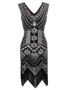 1920s Style Deco Flapper Beaded Dress