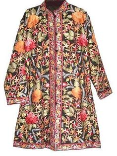 Wool Coat Black in Multicolor Embroidery #AO-118 - Best of Kashmir