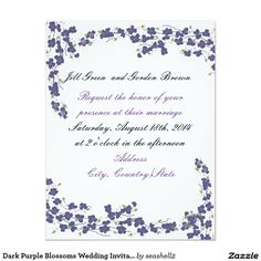 Dark Purple Blossoms Wedding Invitation #weddinginvitation #blossoms #darkpurple