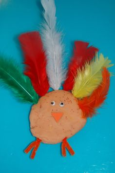playdoh turkey craft.  I could see this getting repurposed with different birds for different holidays as well