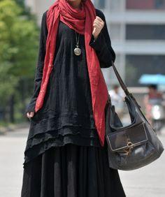 Black linen dress by LitterGirl on Etsy a73e259361b70