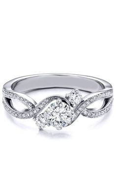 I've never been a big jewelry or diamond girl, but this Three Stone Infinity Diamond Engagement Ring. Now THAT is a beautiful ring. Three Stone Engagement Rings, Diamond Engagement Rings, Jewelry Rings, Fine Jewelry, Jewellery, To Infinity And Beyond, Dream Ring, Diamond Rings, Solitaire Rings